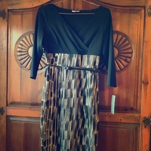 LONDON TIMES PRINT DRESS WITH BELT NWT